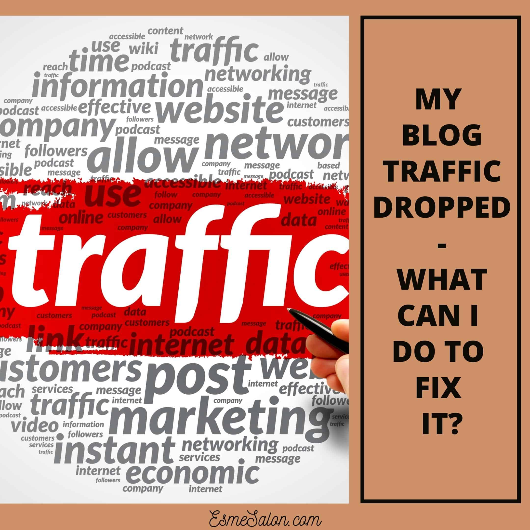 """My blog traffic dropped - a white background page with work """"traffic"""" in white on red insert"""