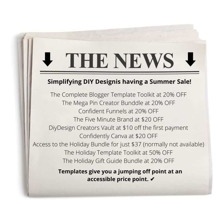 Newspaper with the advertisement of Simplifying DIY Design Summer Sale