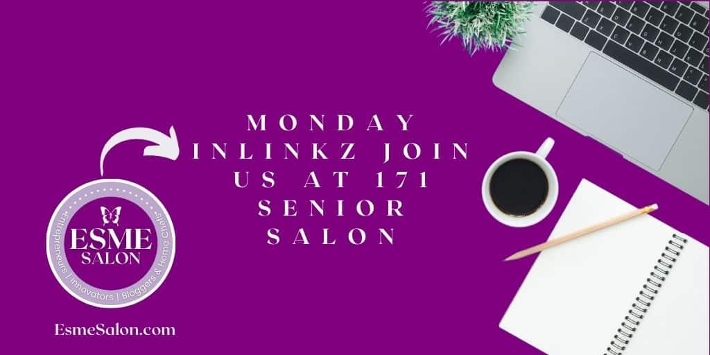 laptop, notebook, pencil and cup of coffee ready to be active at Monday InLinkz Join us at 171 Senior Salon