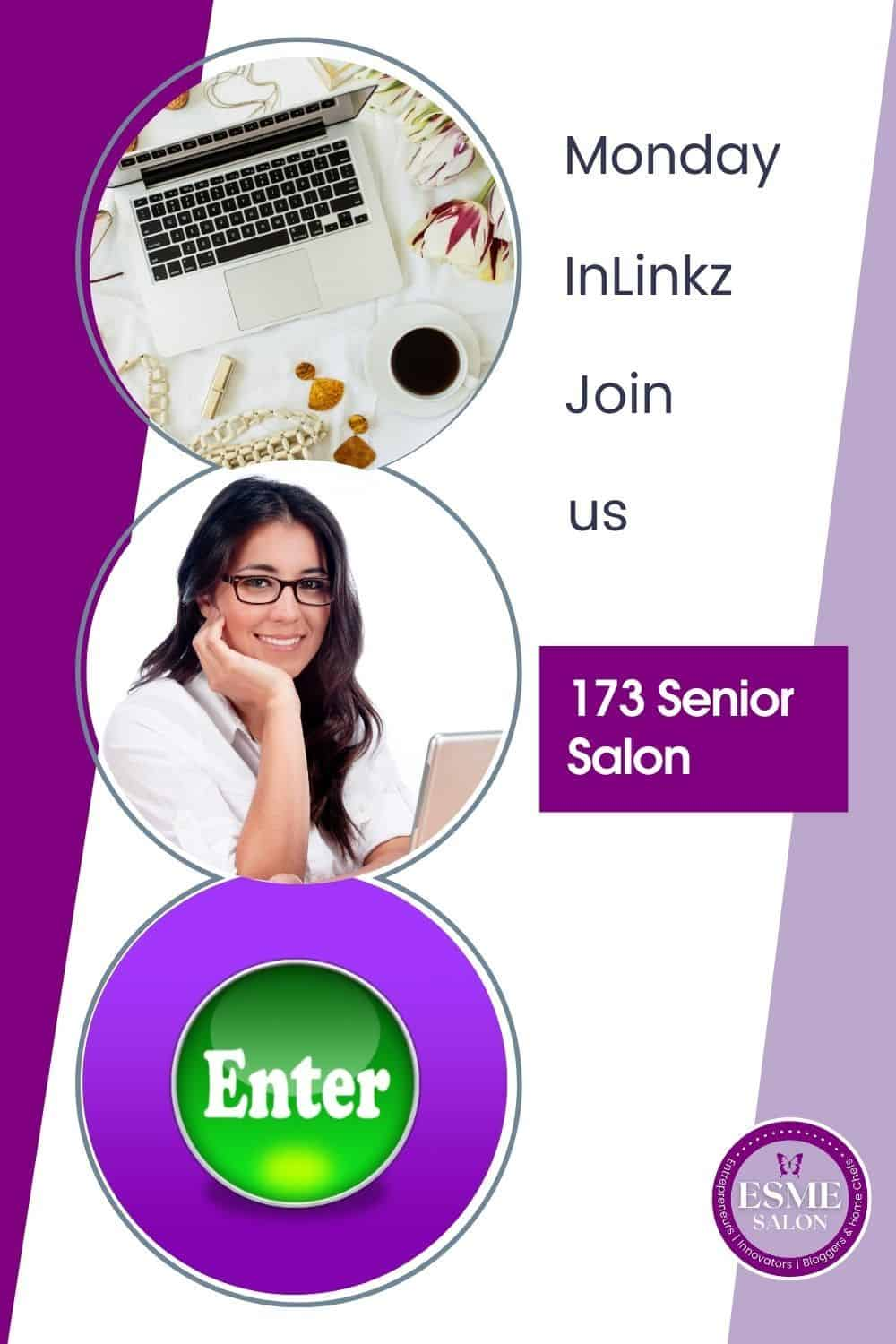 Laptop and lady that will enter at 173 Senior Salno