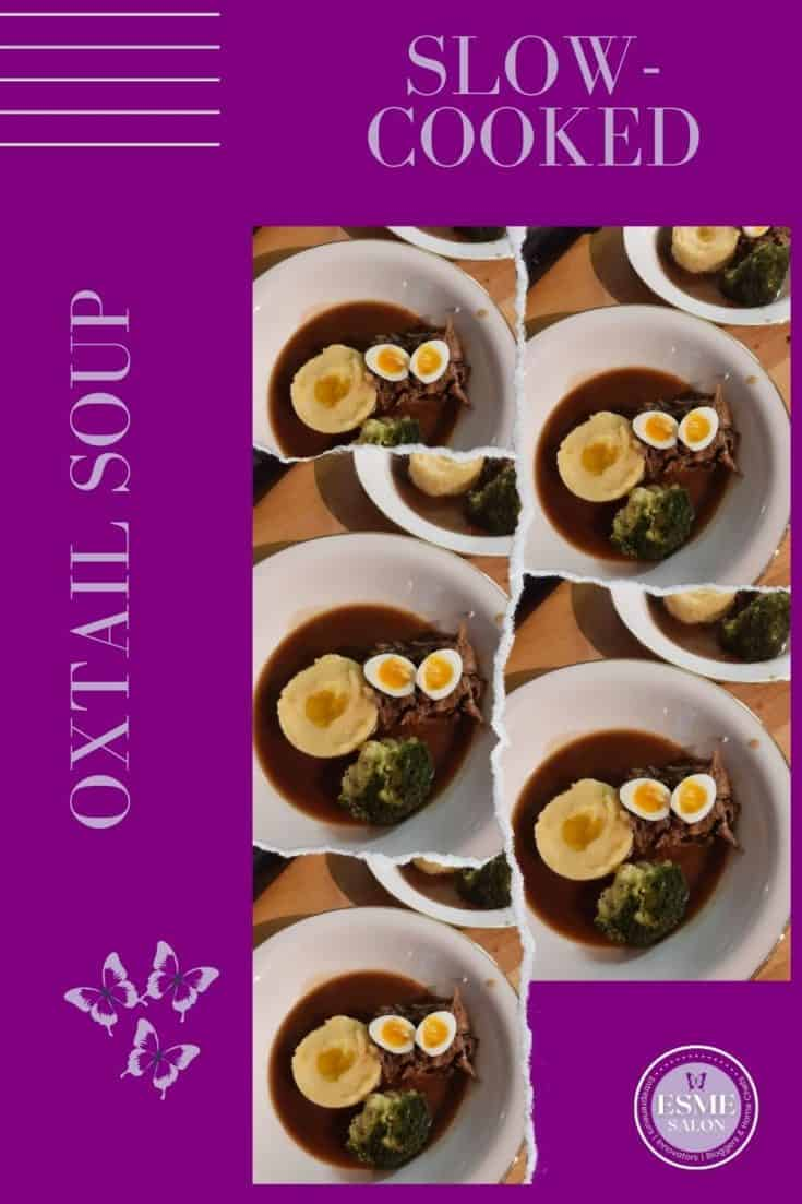 A plate of Oxtail soup with mash and quails eggs