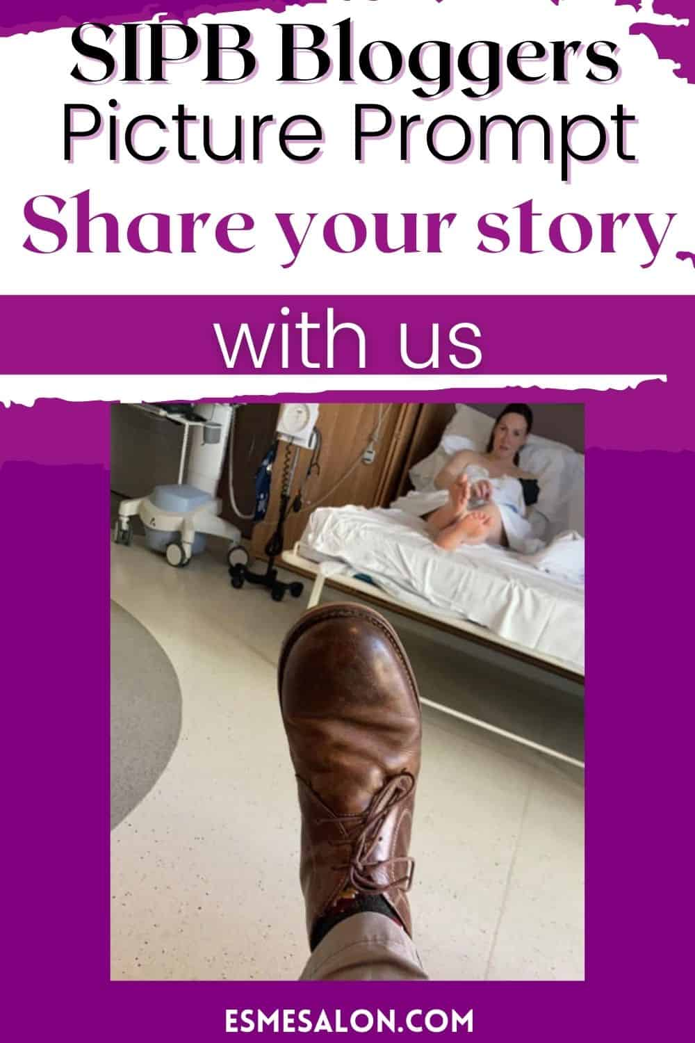 Mother with a new baby on the hospital bed and a Dad's brown shoe