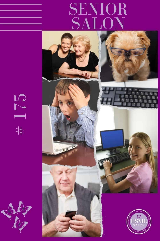 Ladies, Boy, Girl. Grandpa and Dog at computer