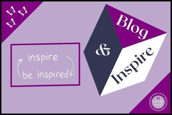 Facebook Group Blog and Inspire Logo, A cube with purple top - word Blog in white , left hand side of cube being Grey and & written in the center, with a white side and the word Inspire written there