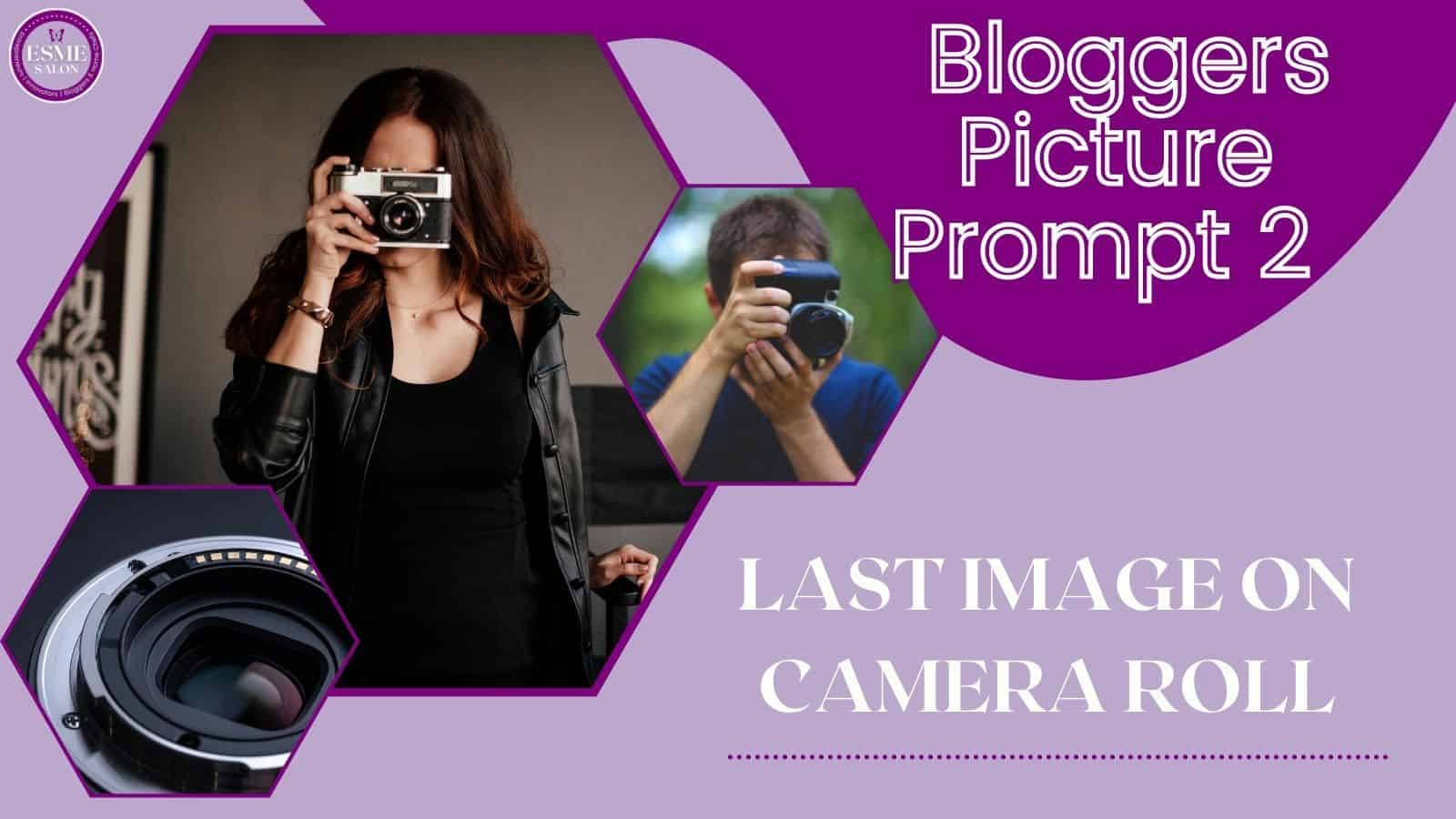 Lady wearing black with a camera taking pictures and a gentleman with blue shirt and blue camera