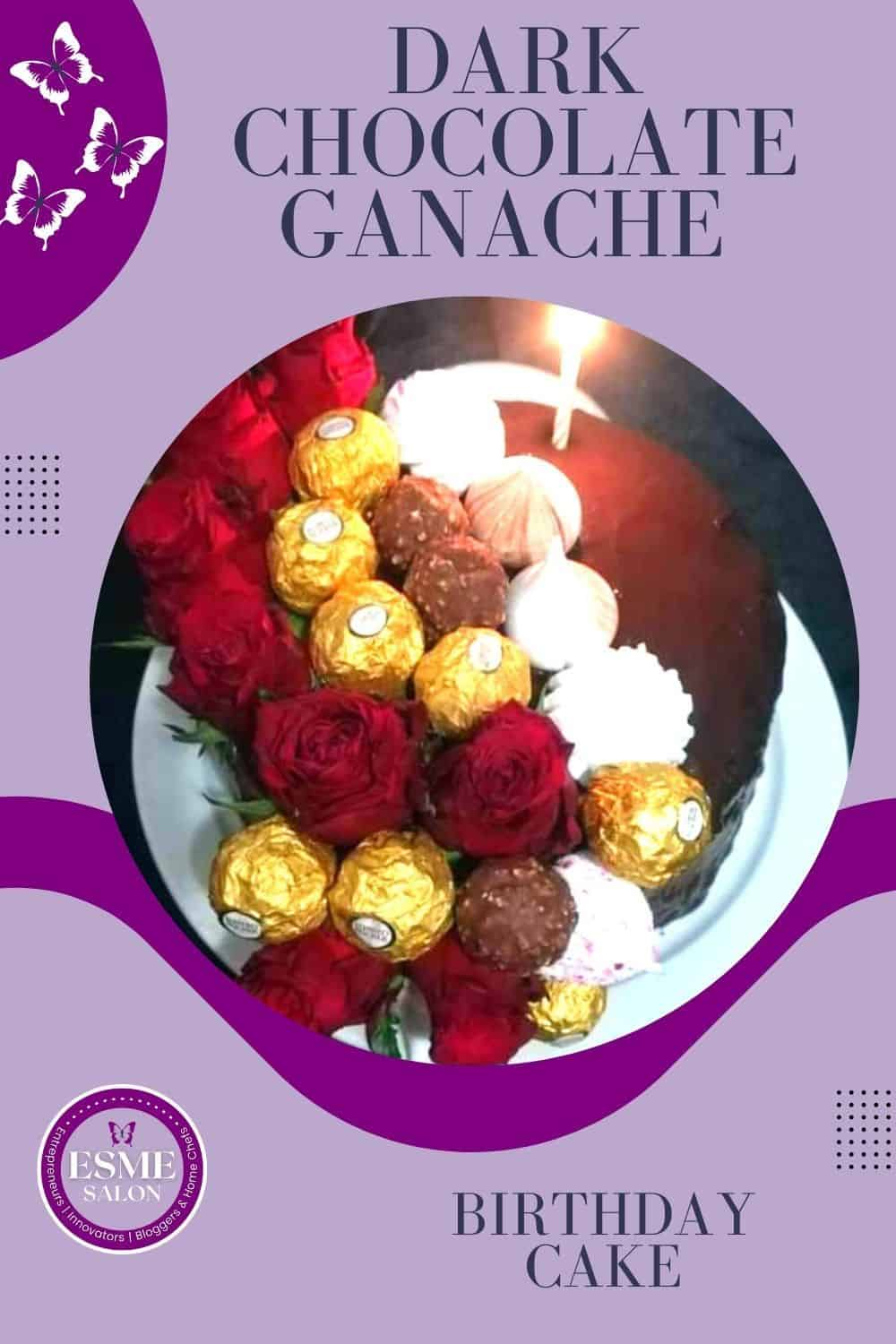 Chocolate cake covered with red roses and candy