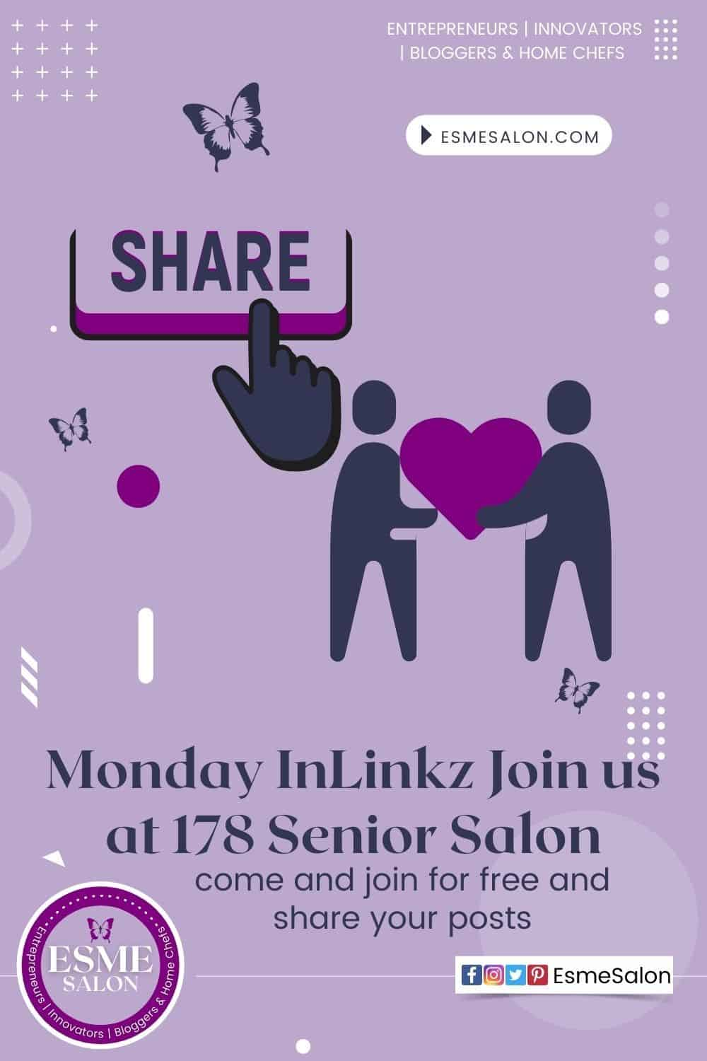 Share button and two men holding Heart