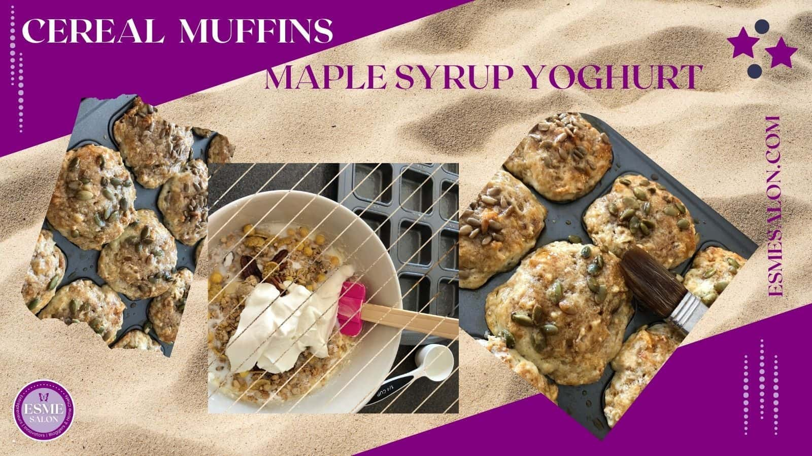 Cereal Maple Syrup Yoghurt Muffins in baking pan with a bowl of the ingredients in the center and pepitas and hone on the tops of the muffins
