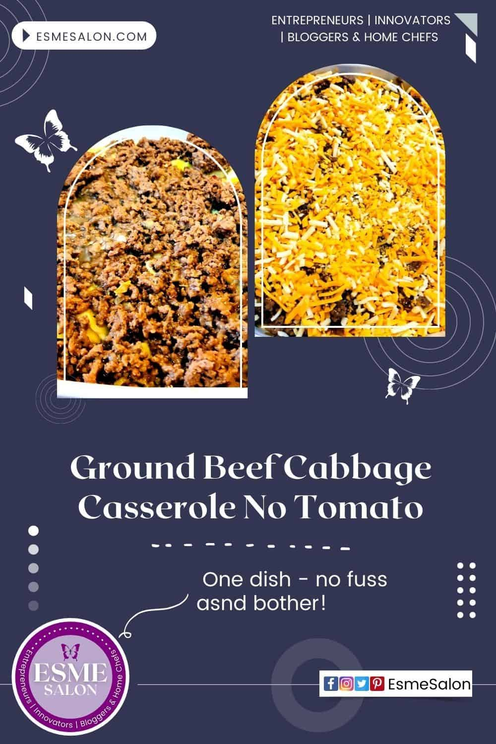 One pan Ground Beef Cabbage Casserole topped with cheese