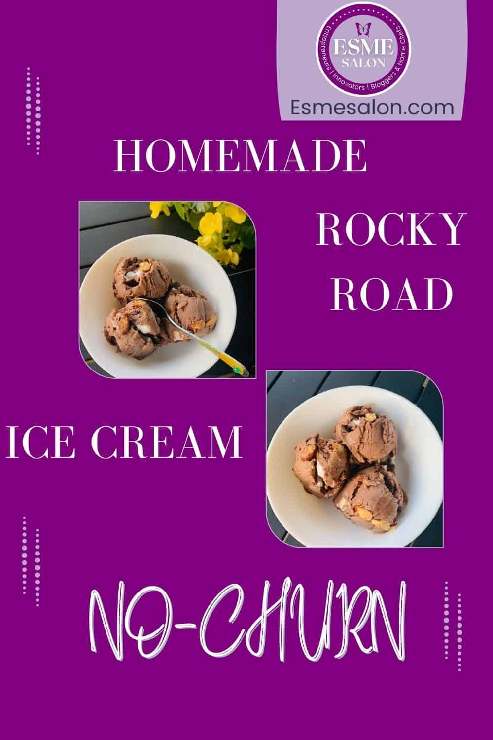 Two bowls with three scoops of Homemade Rocky Road Ice Cream