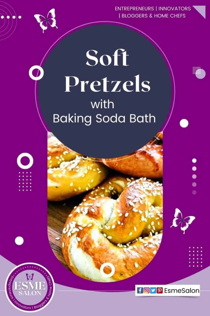 3 Soft pretzels with sesame seed on a wooden brown board