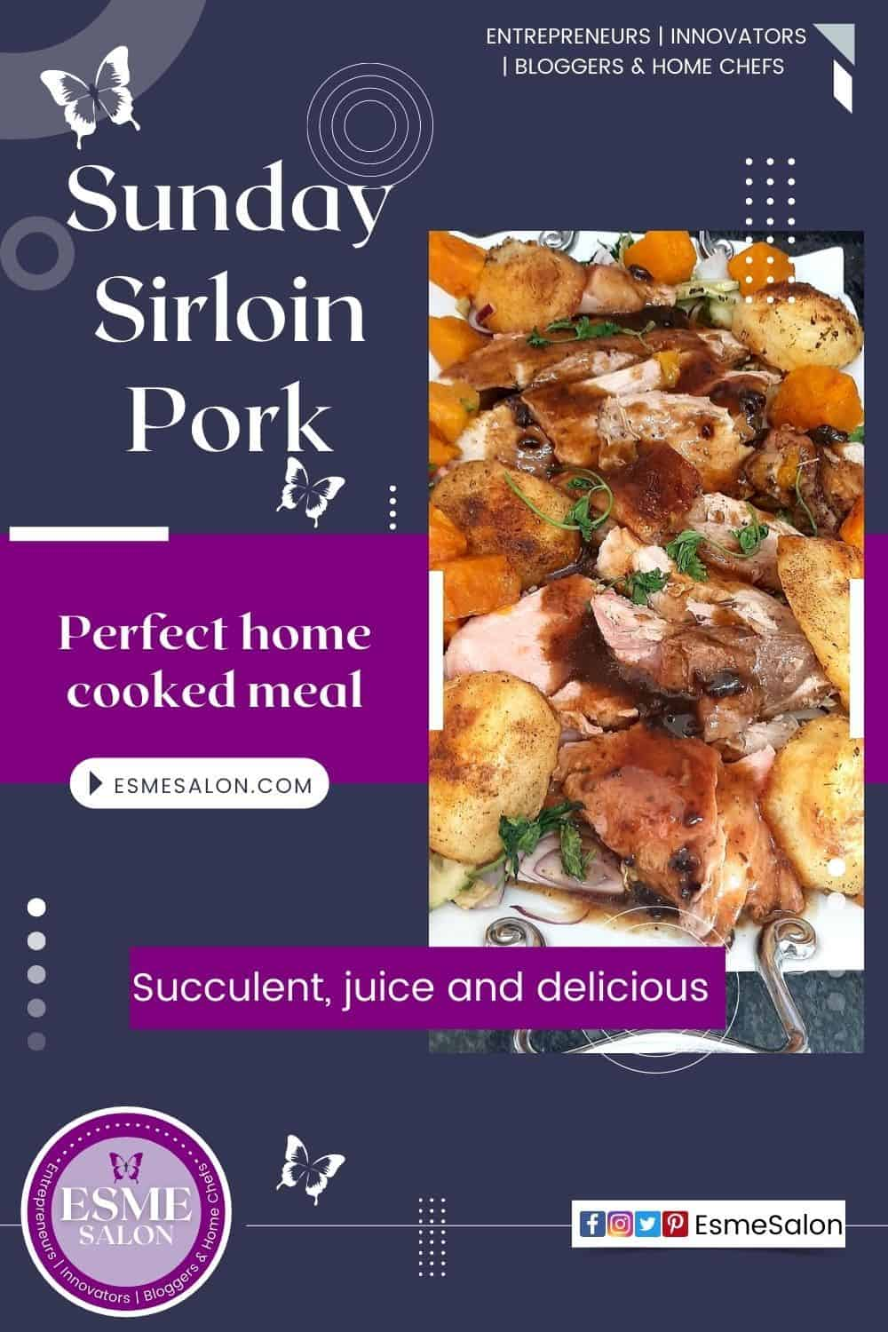 Sliced Sirloin Pork roast meat with sauce, potatoes and sweet potato sprinkled with parsley