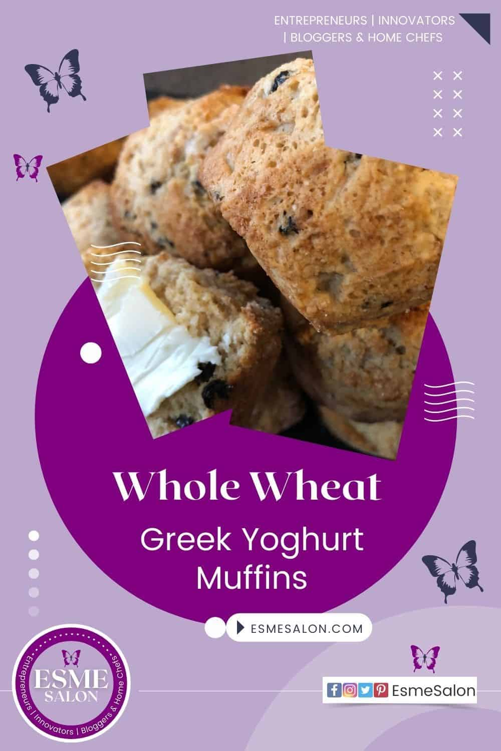 Stacked Whole wheat yoghurt muffins studded with dried fruit and one with butter