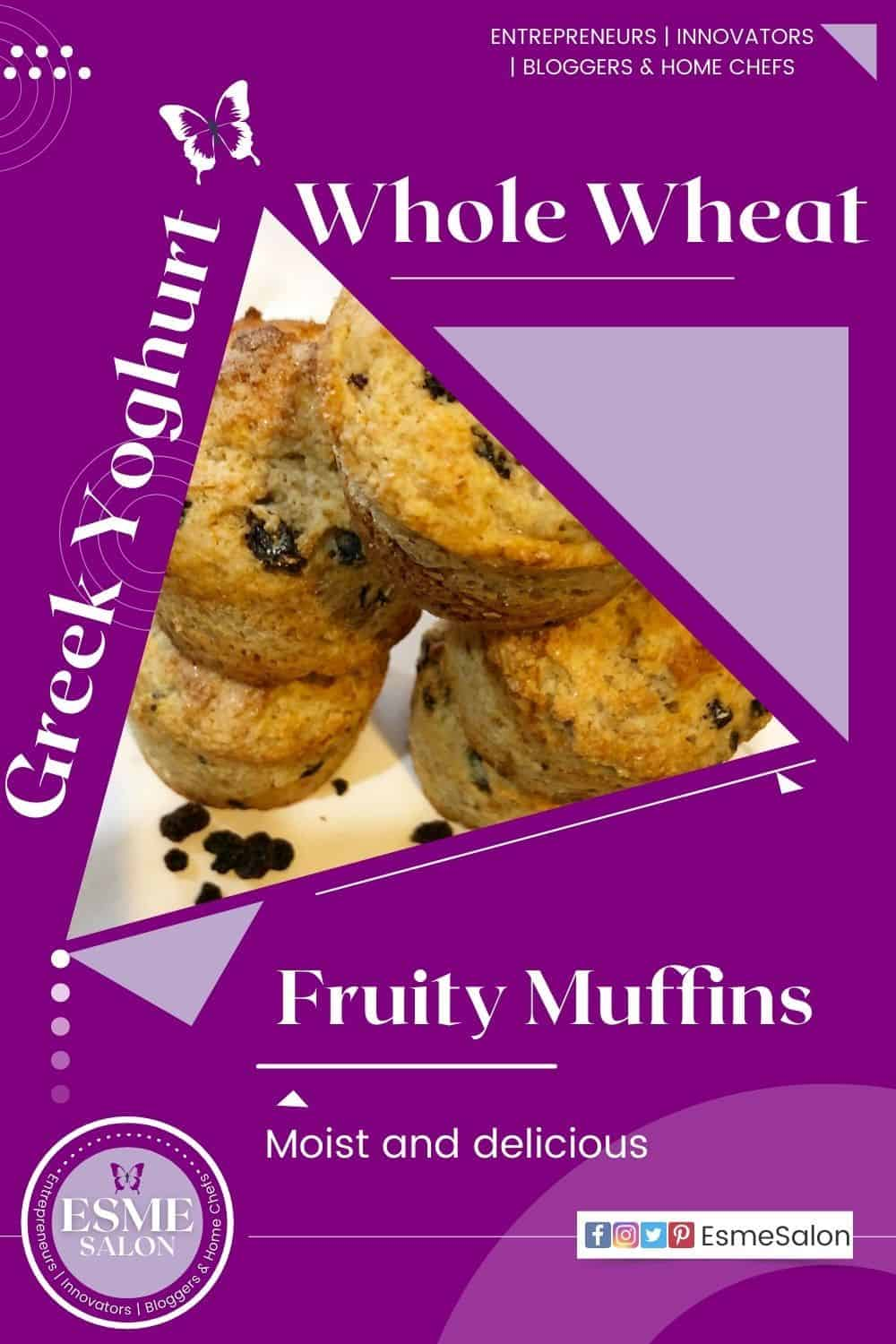 5 Fruity muffins stacked with mixed dried fruit on the side