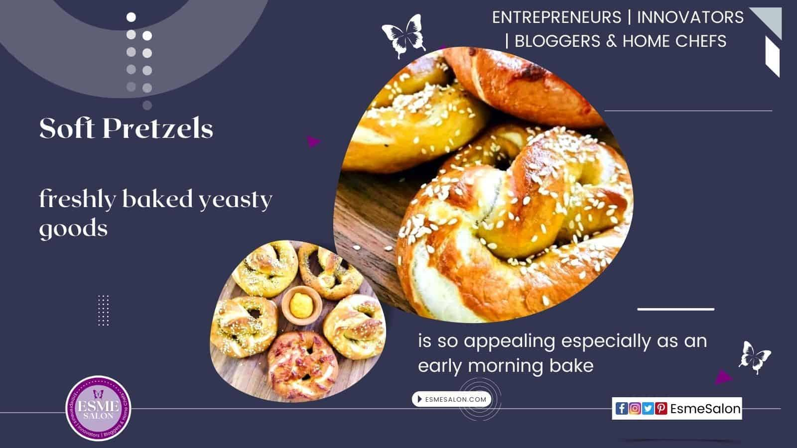 3 Soft pretzels with sesame seed on a wooden brown board and another one with 5 pretzels with a bowl of butter in the center