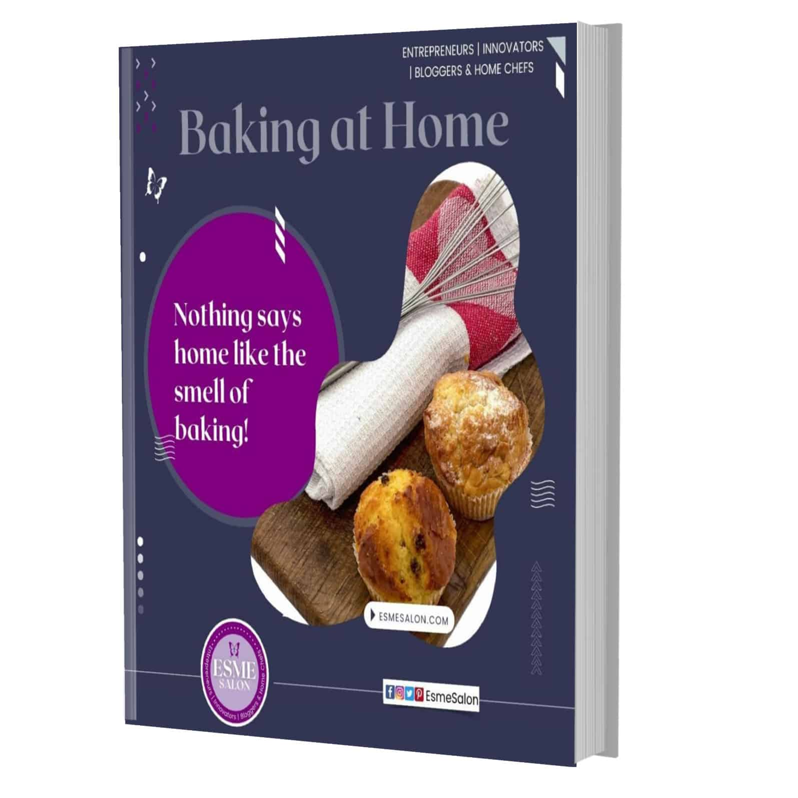 """Baking at Home eBook in grey with image of egg whisk, and muffins with a red and white tea towel and stating """"Nothing says home like the smell of baking!"""""""