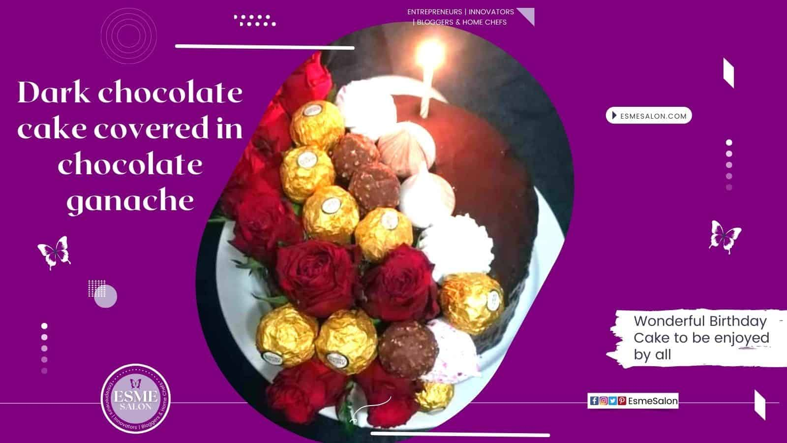 Wonderful Dark Chocolate Birthday Cake