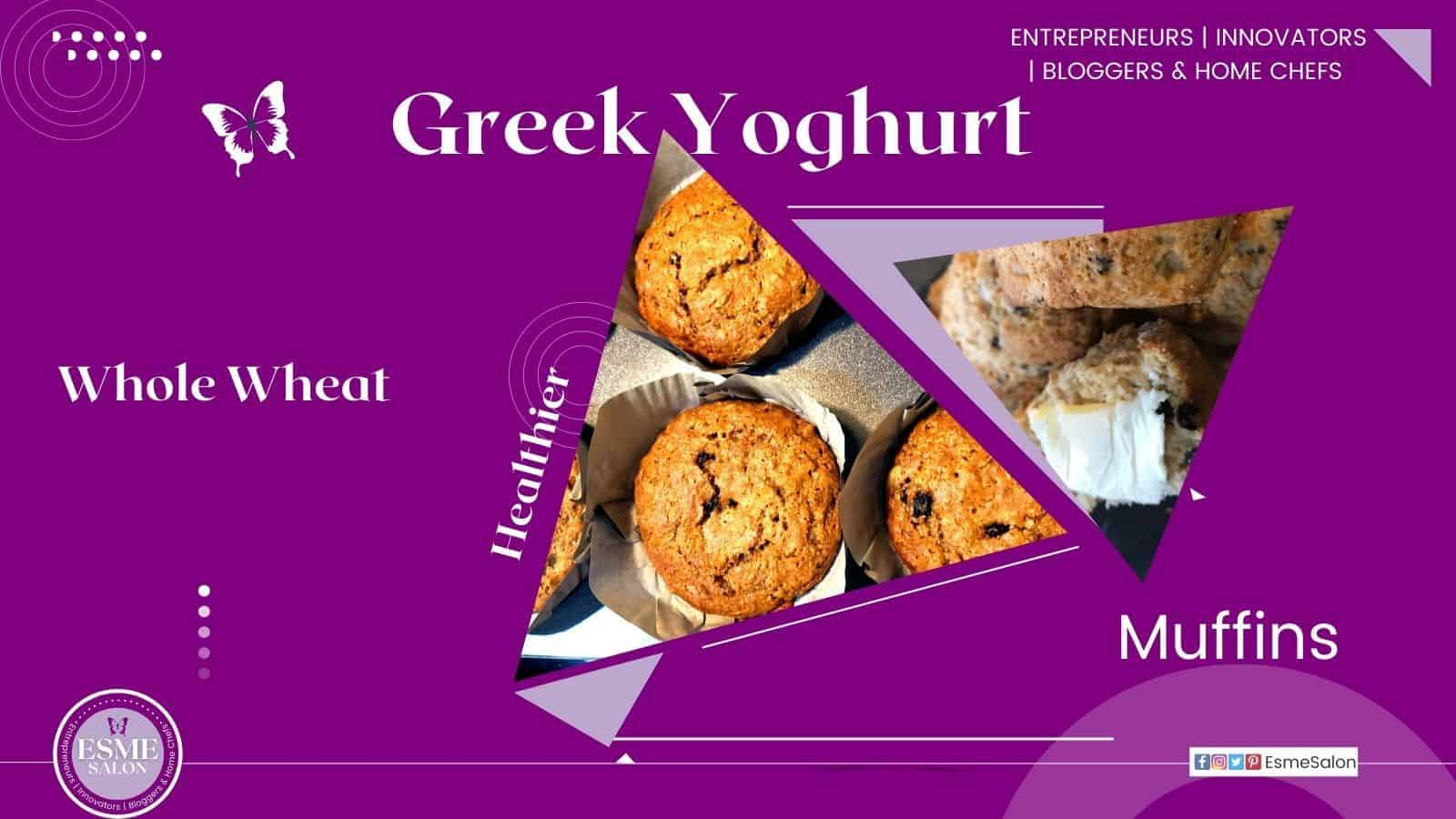 Whole Wheat Greek Yoghurt Muffins in parchment papers as well as some with a butter on