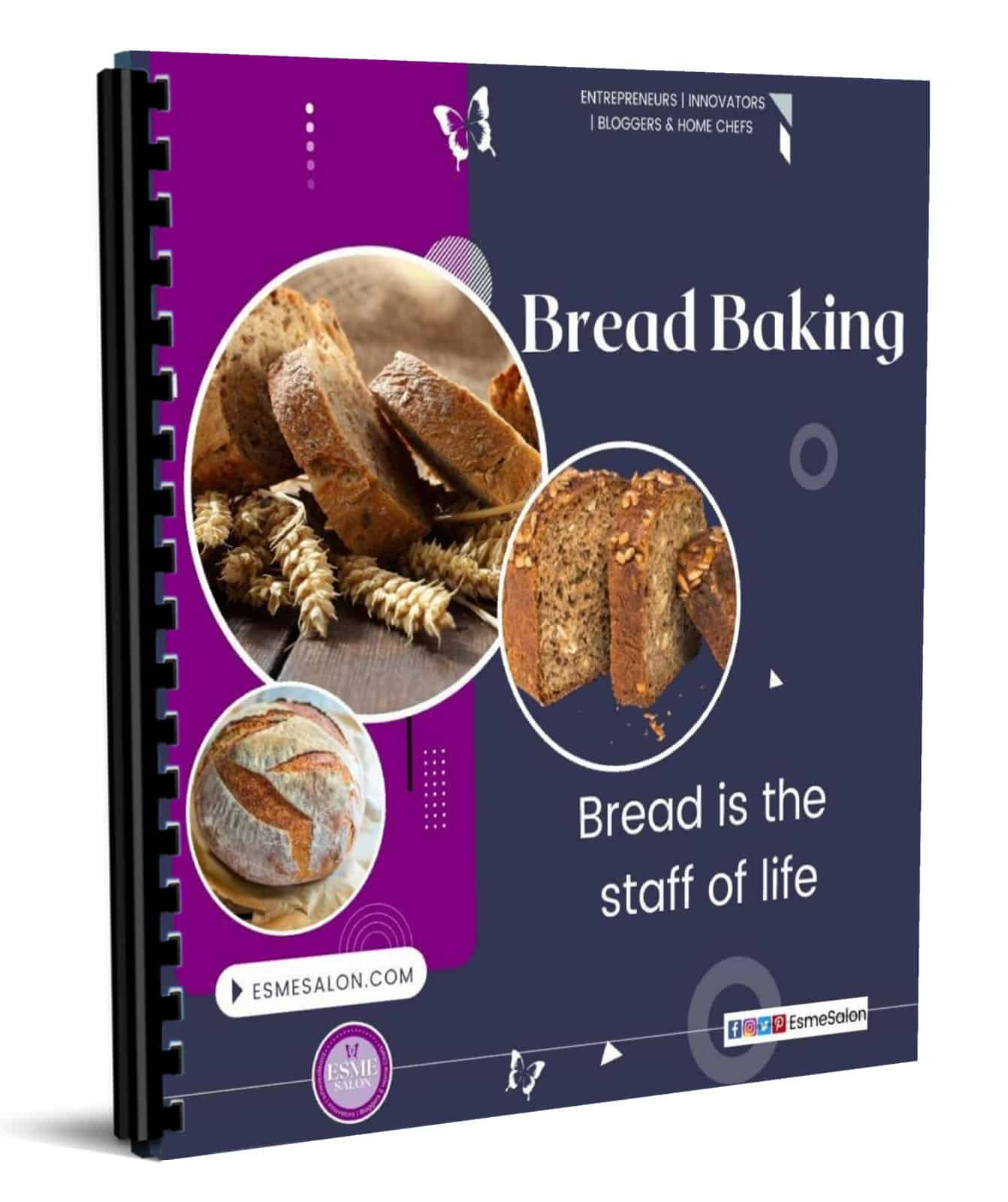 Bread Baking recipe eBook image, with purple and grey sections and three images in circles of various bread and corn pictures and stating Bread is the staff of life